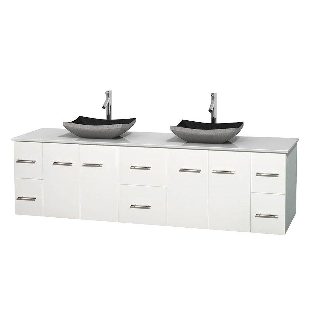 Centra 80-inch W Double Vanity in White with Solid Top with Black Basins