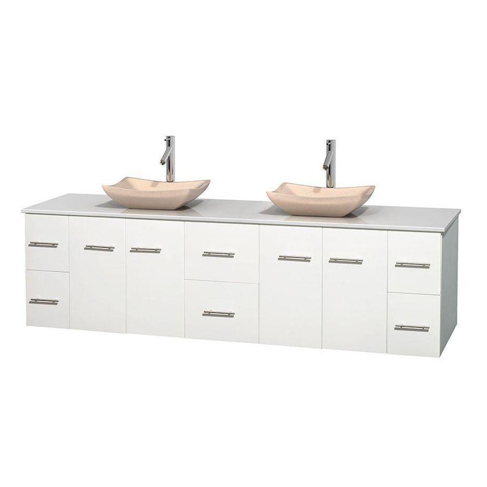 Meuble double Centra 80 po. blanc, comptoir solide, lavabos ivoire, sans miroir