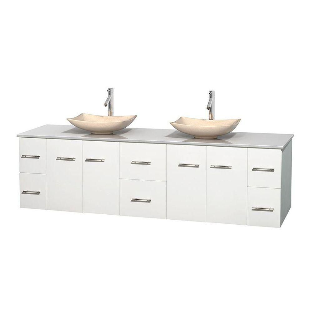 Centra 80-inch W Double Vanity in White with Solid Top with Ivory Basins