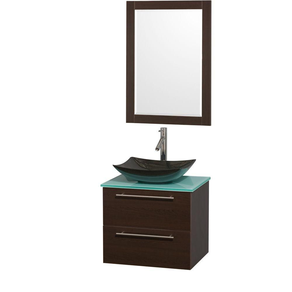 Amare 24-inch W Vanity in Espresso with Glass Top with Black Basins and Mirror