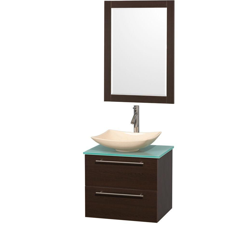Amare 24-inch W Vanity in Espresso with Glass Top with Ivory Basins and Mirror