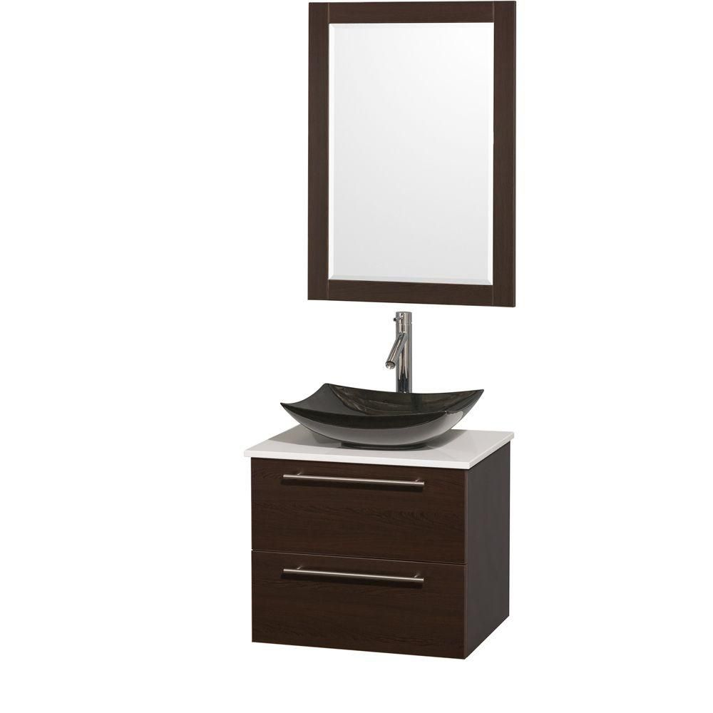 Amare 24-inch W Vanity in Espresso with Solid Top and 24-inch Mirror