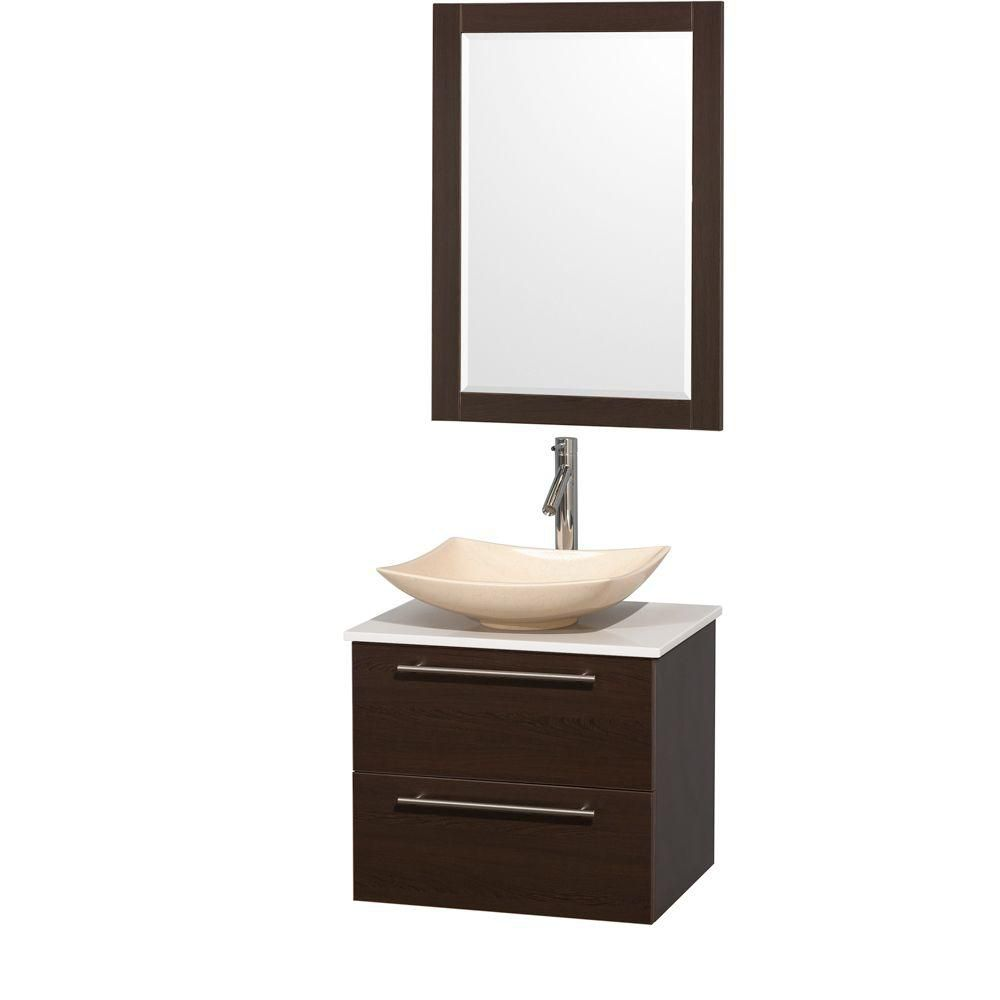 Amare 24-inch W Vanity in Espresso with Solid Top with Ivory Basins and Mirror