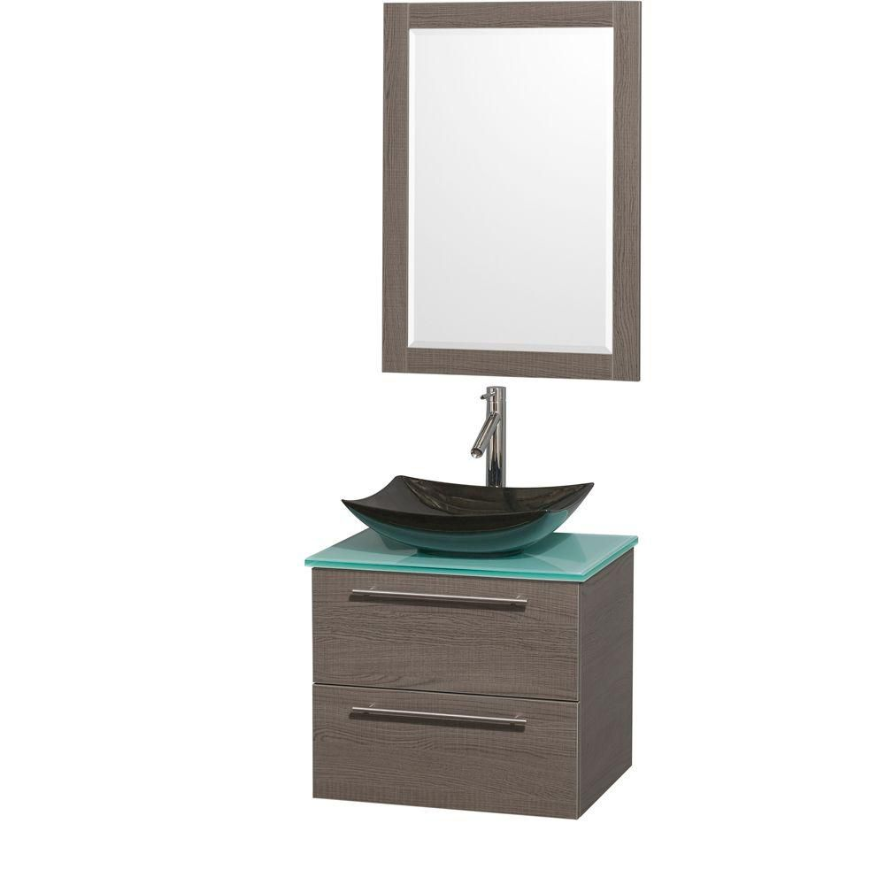 Amare 24-inch W Vanity in Grey Oak with Glass Top with Black Basins and Mirror