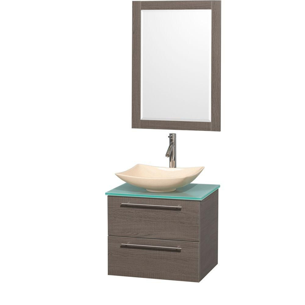 Amare 24-inch W Vanity in Grey Oak with Glass Top with Ivory Basins and Mirror