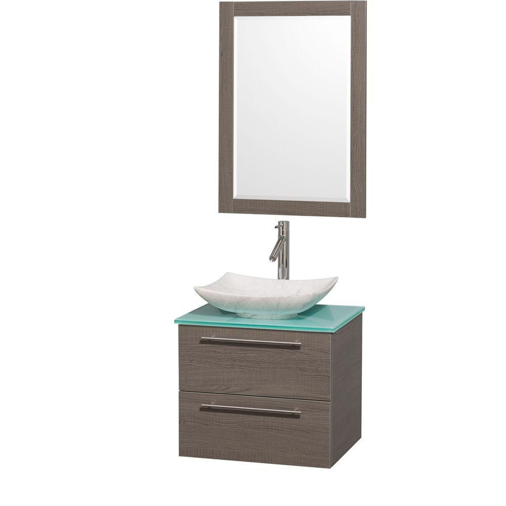 Amare 24-inch W Vanity in Grey Oak with Glass Top with White Basins and Mirror