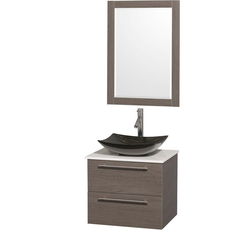 Amare 24-inch W Vanity in Grey Oak with Solid Top with Black Basins and Mirror
