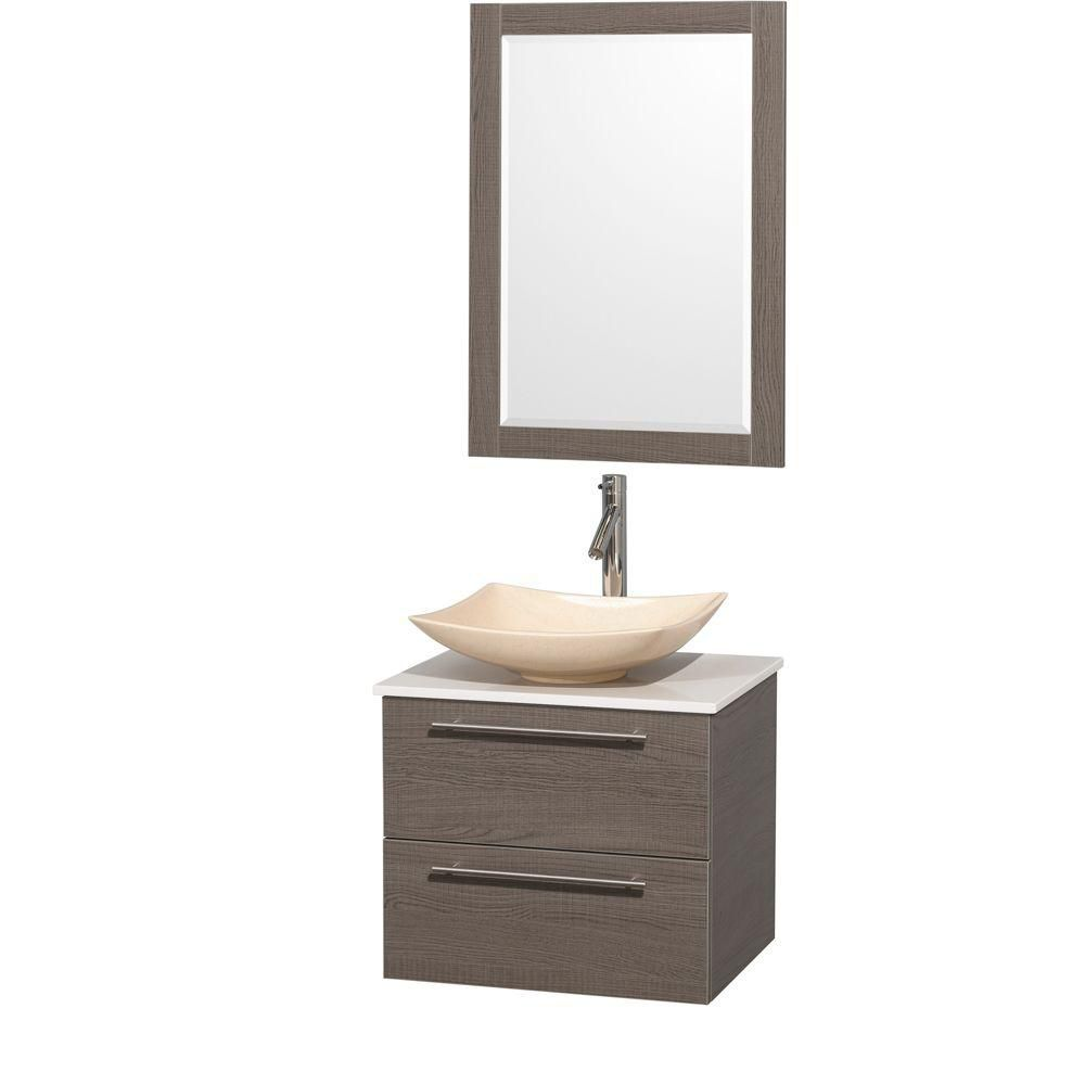 Amare 24-inch W Vanity in Grey Oak with Solid Top with Ivory Basins and Mirror
