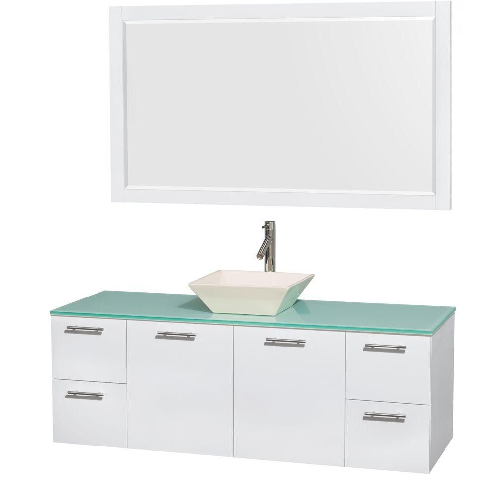 Wyndham Collection Amare 60-inch W 4-Drawer 2-Door Wall Mounted Vanity in White With Top in Green With Mirror