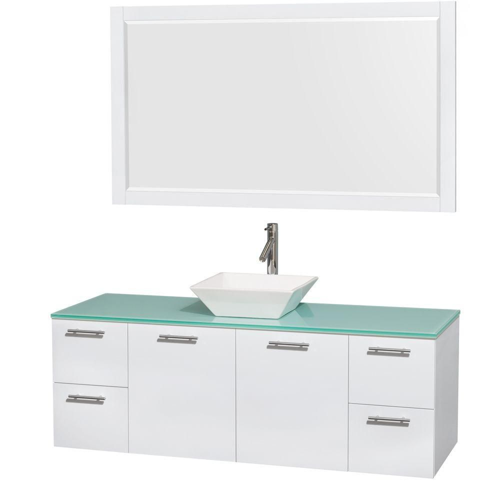 Amare 60-inch W Vanity in White with Glass Top with White Basins and Mirror