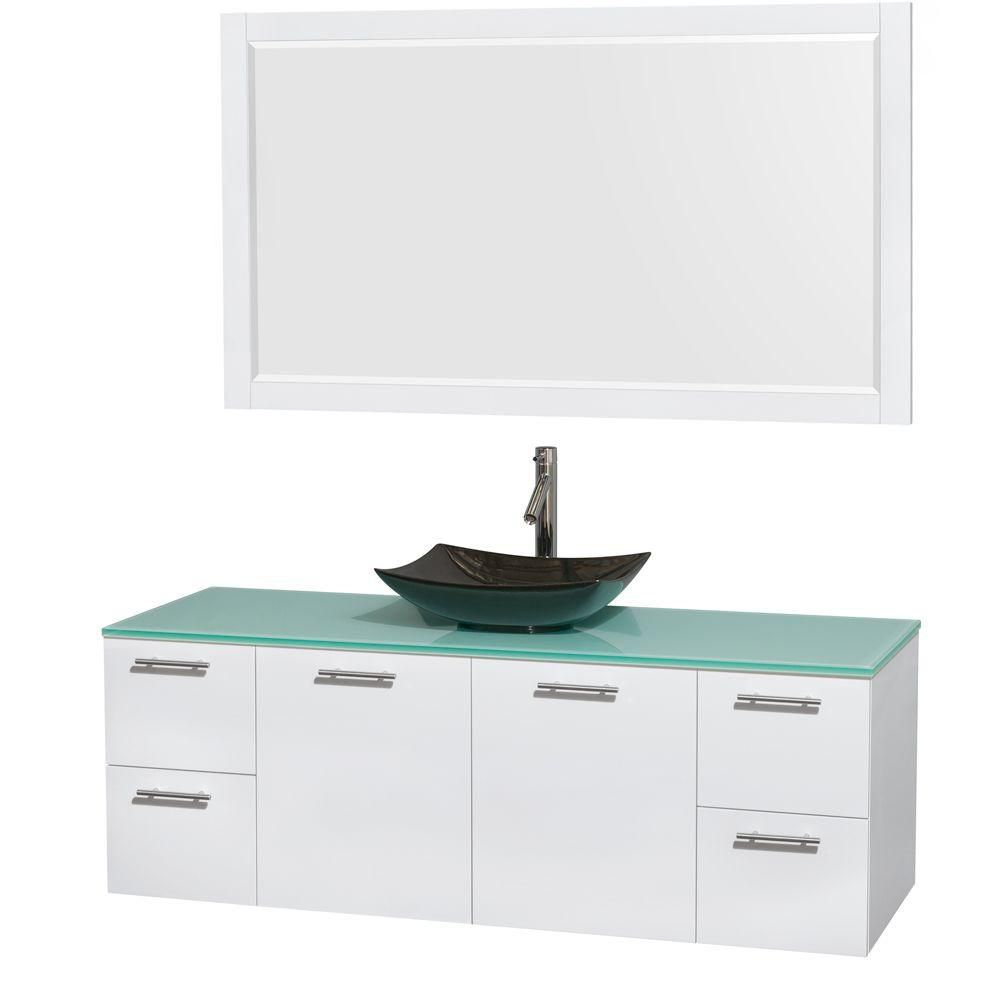Amare 60-inch W Vanity in White with Glass Top with Black Basins and Mirror