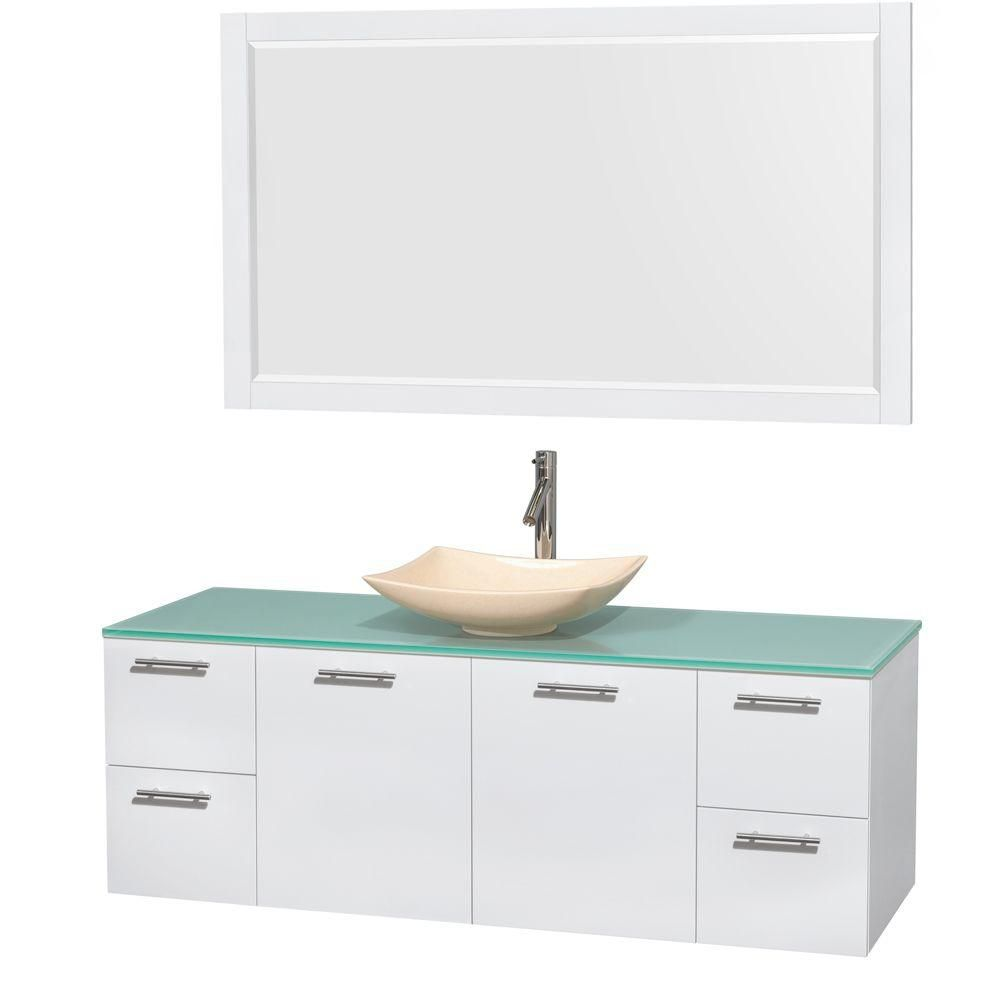 Amare 60-inch W Vanity in White with Glass Top with Ivory Basins and Mirror