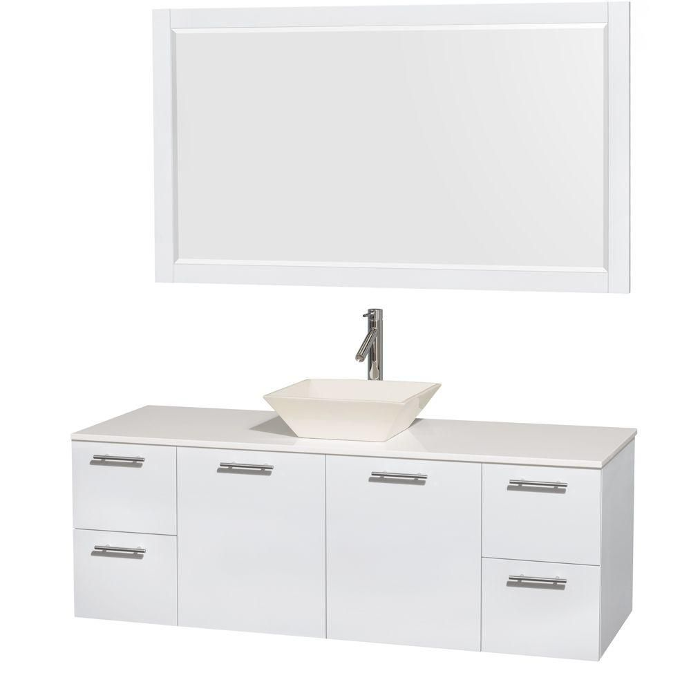 Amare 60-inch W Vanity in White with Solid Top with Bone Basins and Mirror