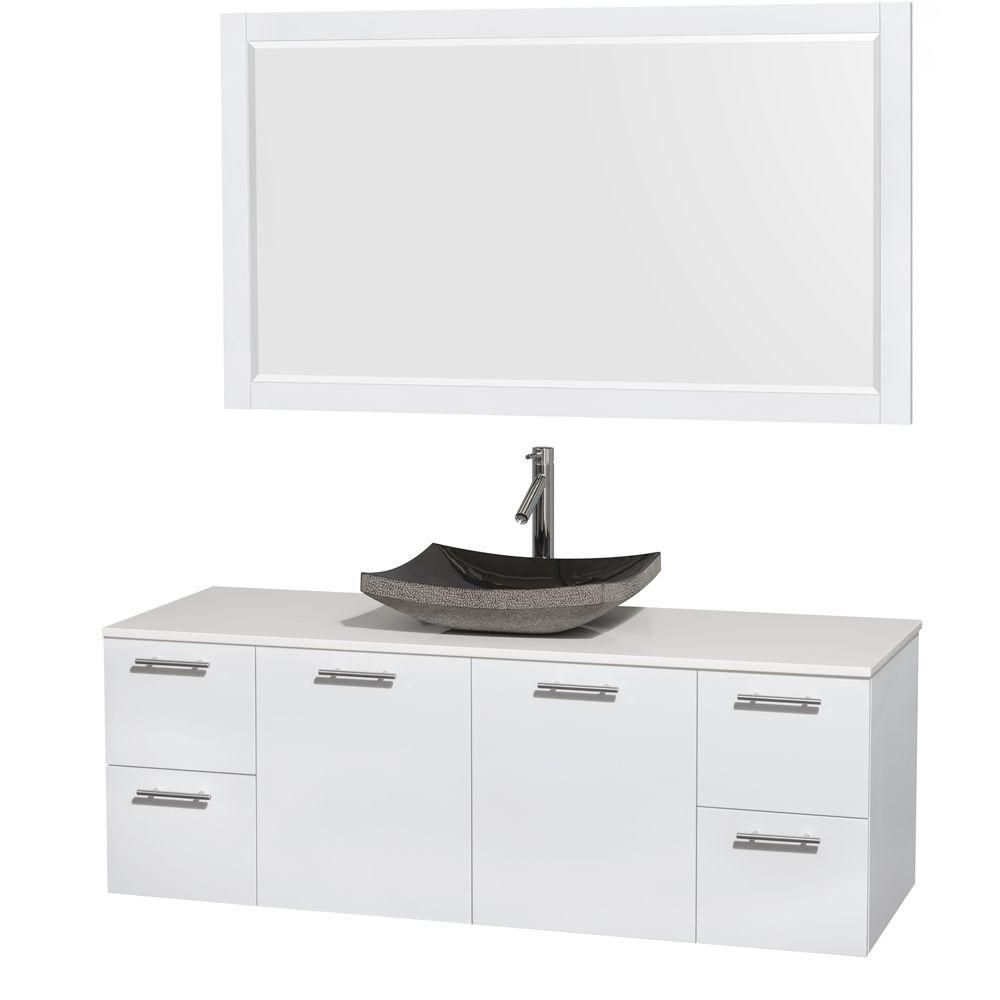 Amare 60-inch W Vanity in White with Solid Top with Black Basins and Mirror