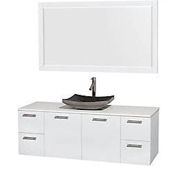 Wyndham Collection Amare 60-inch W 4-Drawer 2-Door Wall Mounted Vanity in White With Artificial Stone Top in White