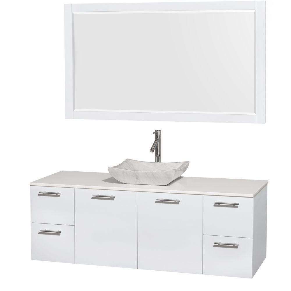 Amare 60-inch W Vanity in White with Solid Top with White Basins and Mirror