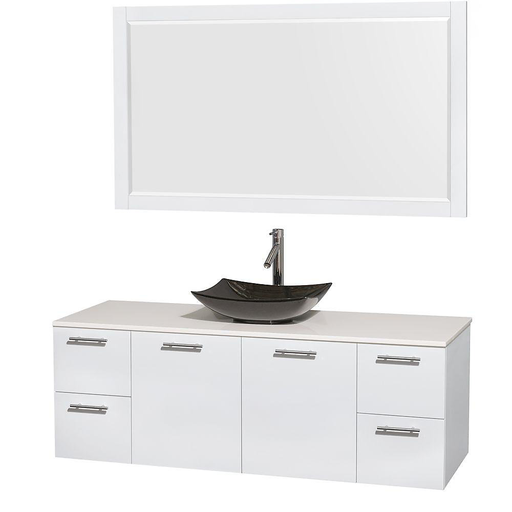 Amare 60-inch W 4-Drawer 2-Door Wall Mounted Vanity in White With Artificial Stone Top in White