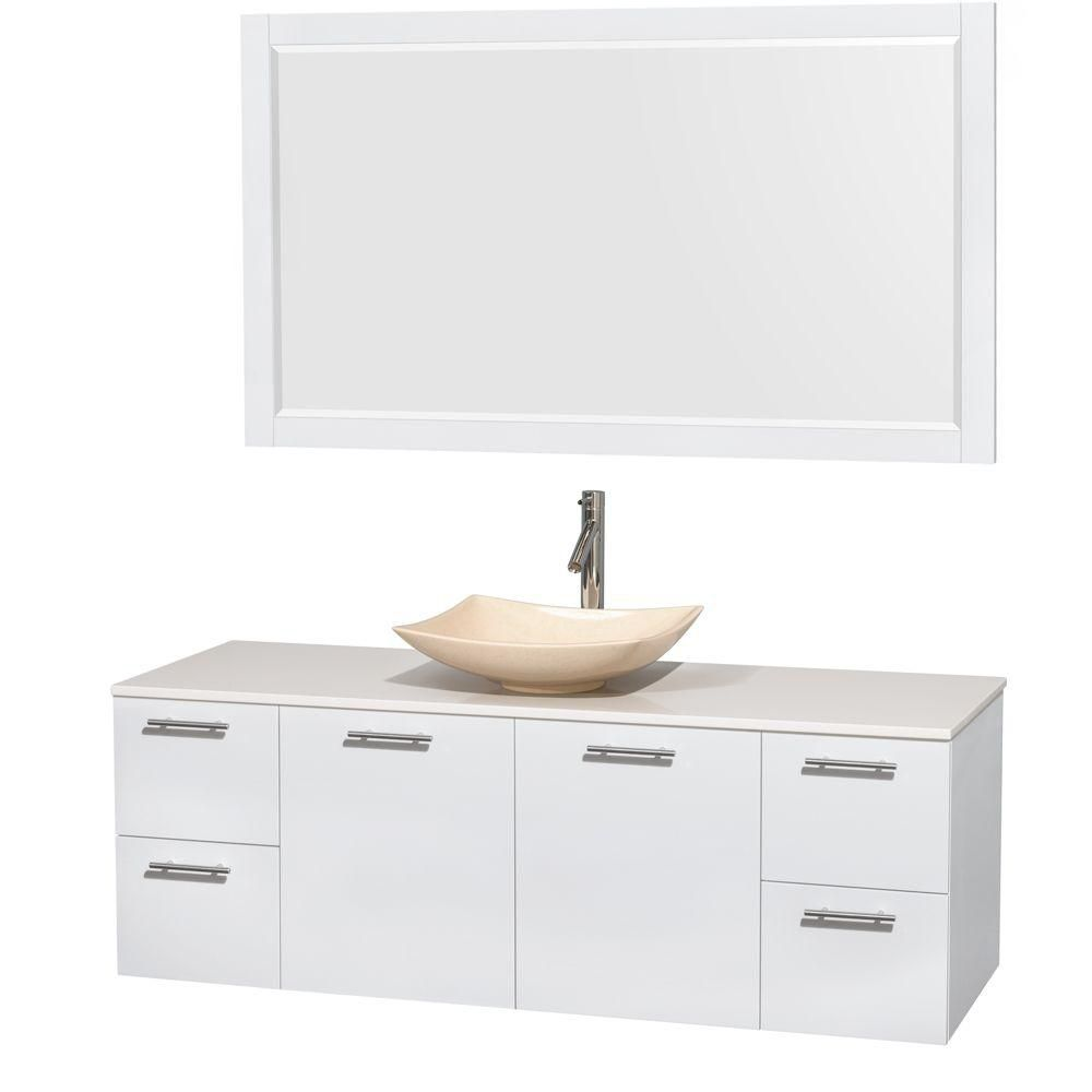 Amare 60-inch W Vanity in White with Solid Top with Ivory Basins and Mirror