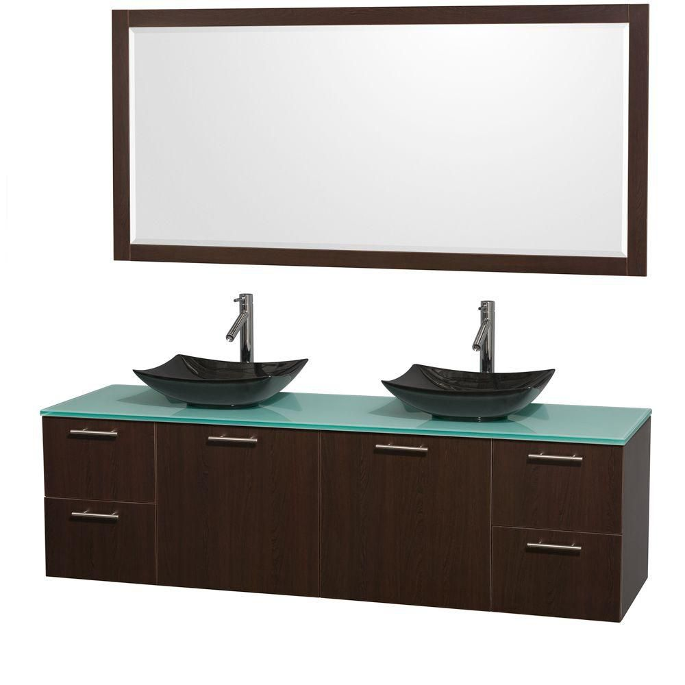 Amare 72-inch W Double Vanity in Espresso with Glass Top with Black Basins and Mirror