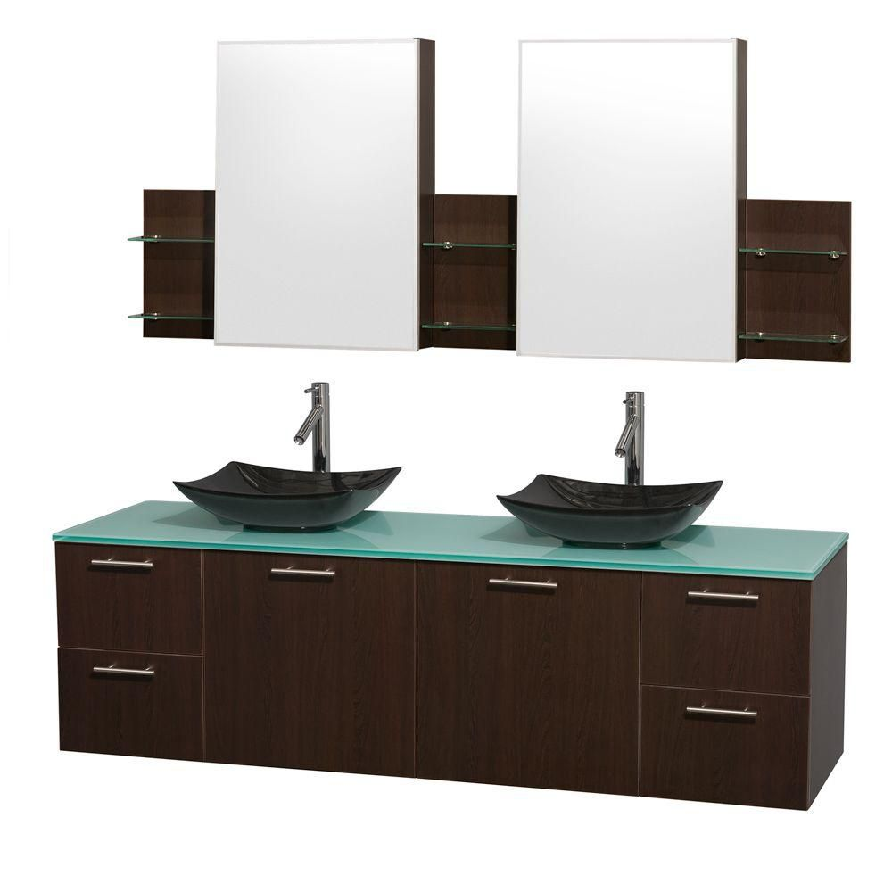 Amare 72-inch W Double Vanity in Espresso with Glass Top with Black Basins and Medicine Cabinet