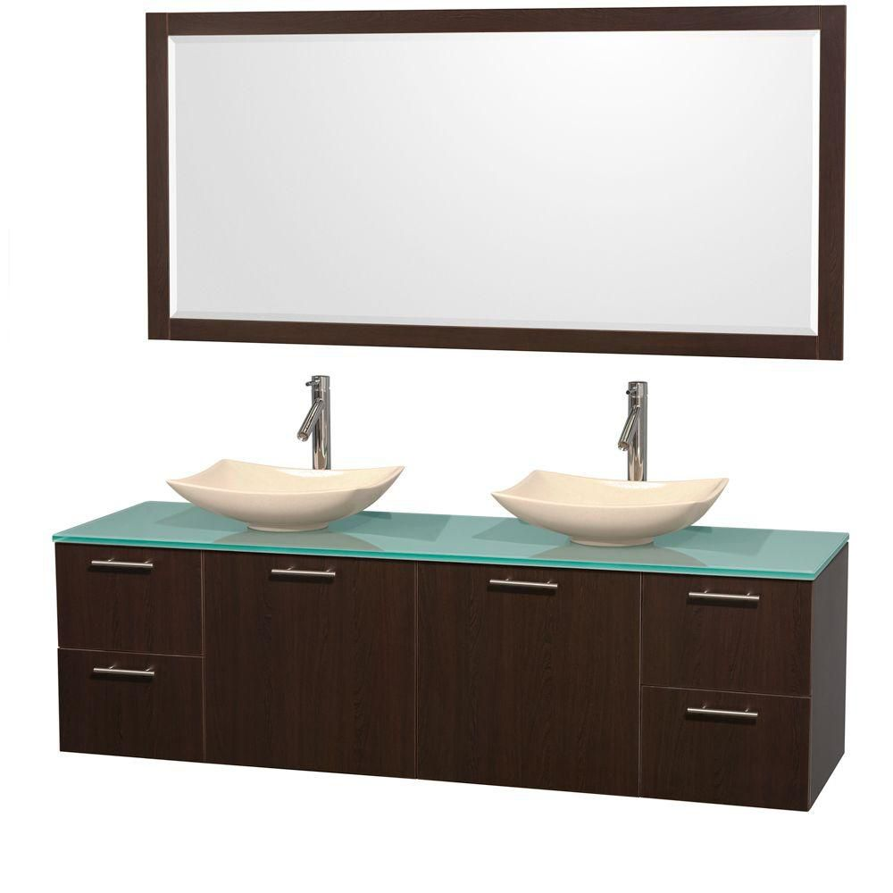 Amare 72-inch W Double Vanity in Espresso with Glass Top with Ivory Basins and Mirror