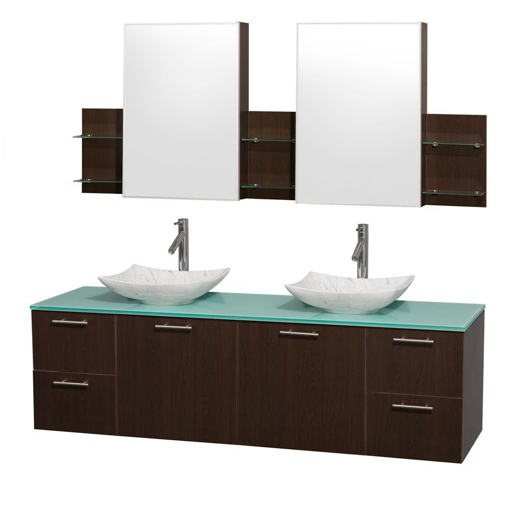 Amare 72-inch W Double Vanity in Espresso with Glass Top with White Basins and Medicine Cabinet