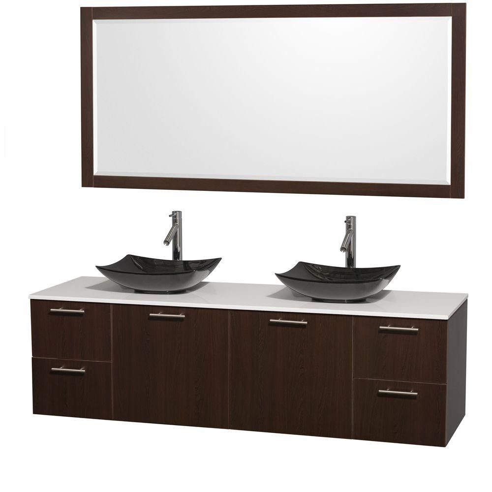 Amare 72-inch W Double Vanity in Espresso with Solid Top with Black Basins and Mirror