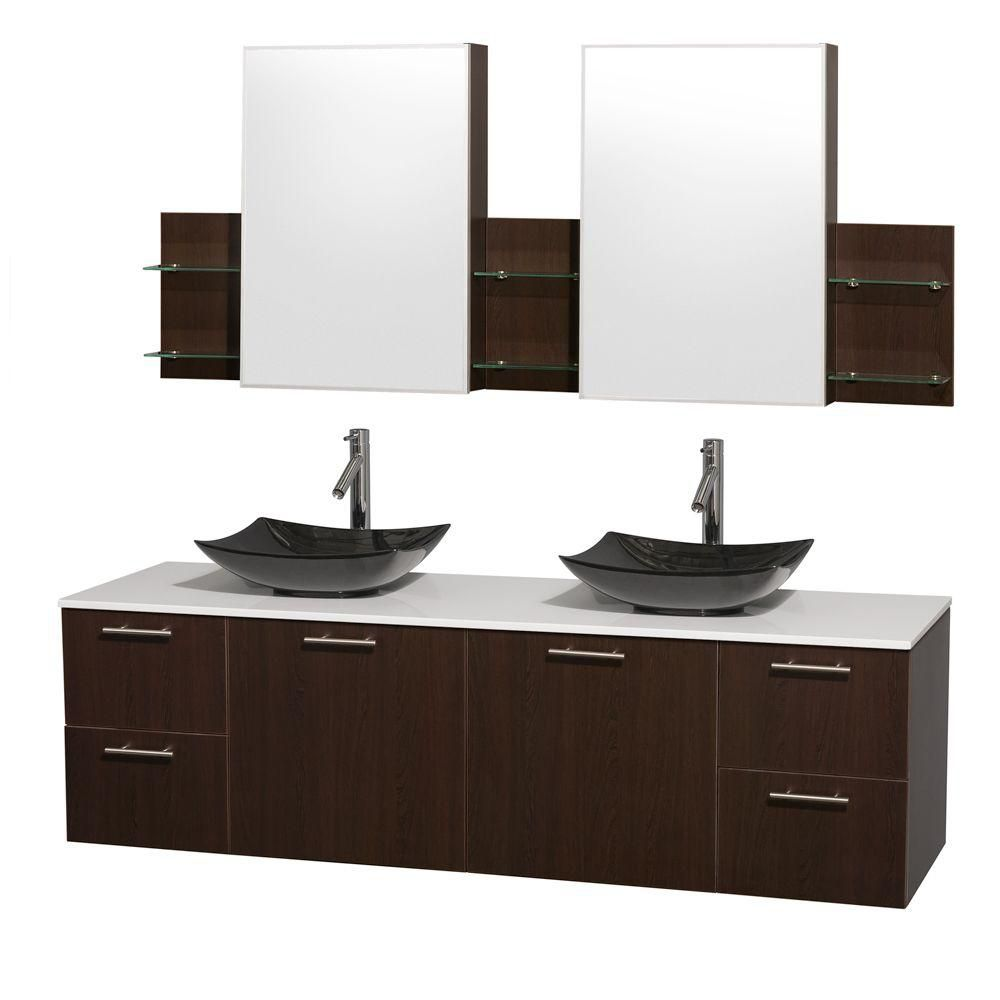 Amare 72-inch W Double Vanity in Espresso with Solid Top with Black Basins and Medicine Cabinet