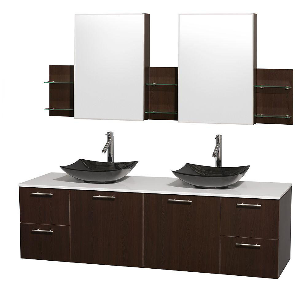 Amare 72-inch W 4-Drawer 2-Door Vanity in Brown With Artificial Stone Top in White, Double Basins