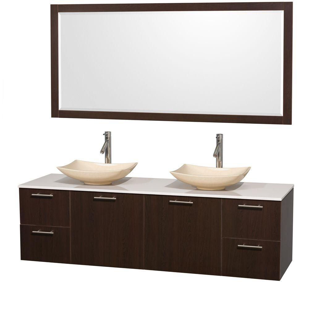 Amare 72-inch W Double Vanity in Espresso with Solid Top with Ivory Basins and Mirror
