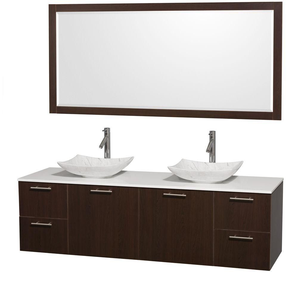 Amare 72-inch W Double Vanity in Espresso with Solid Top and 70-inch Mirror