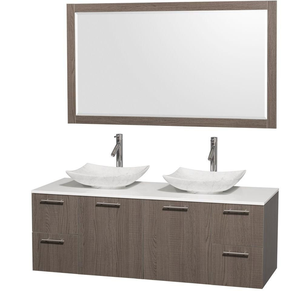 Amare 60-inch W Double Vanity in Grey Oak with Solid Top with White Basins and Mirror