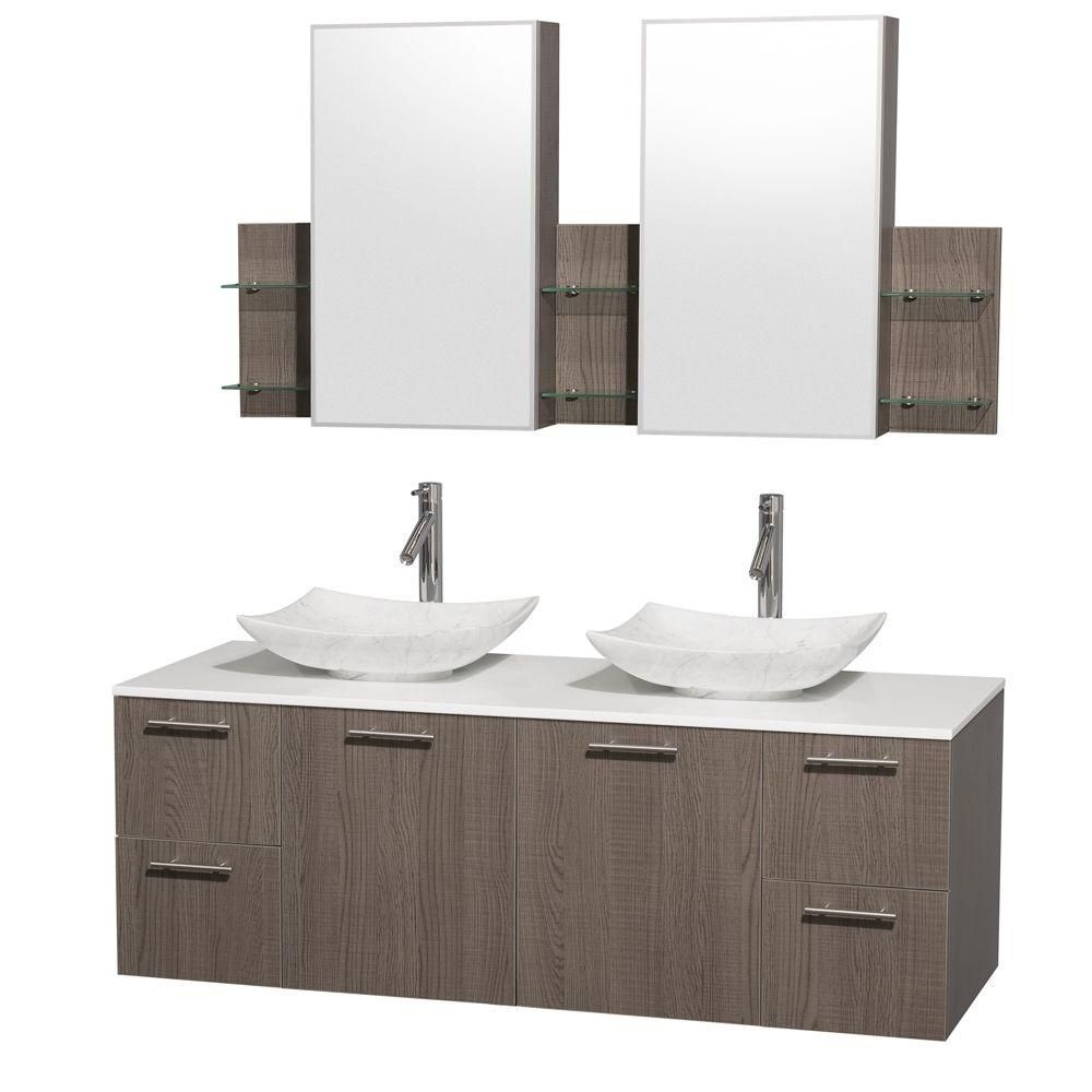 Amare 60-inch W Double Vanity in Grey Oak with Solid Top with White Basins and Medicine Cabinet