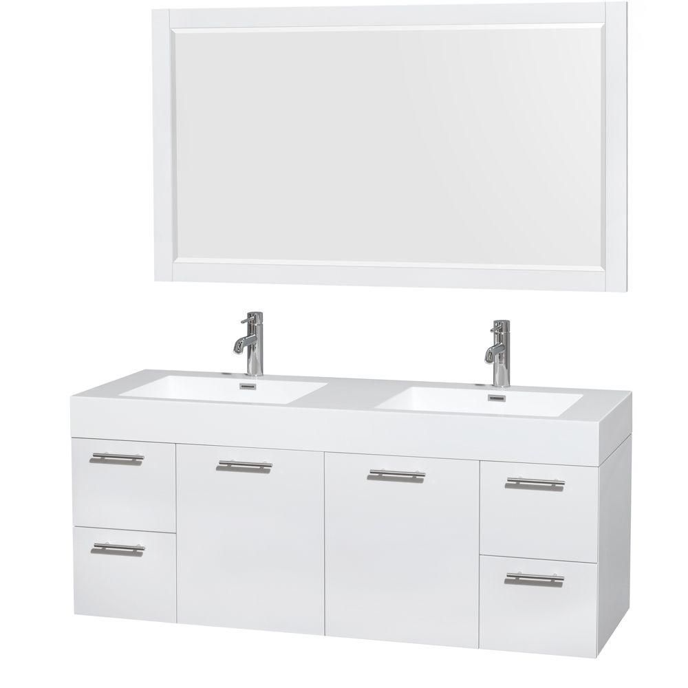 Amare 60-inch W Double Vanity in Glossy White with Acrylic-Resin Top and 58-inch Mirror