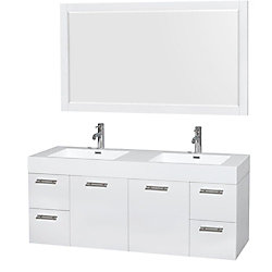 Wyndham Collection Amare 60-inch W 4-Drawer 2-Door Wall Mounted Vanity in White With Acrylic Top in White, 2 Basins