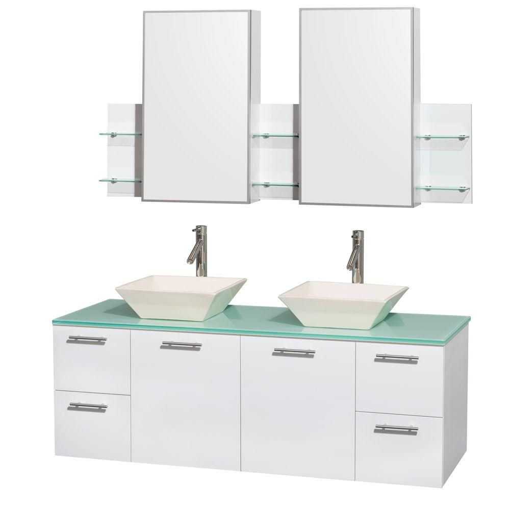 Amare 60-inch W Double Vanity in White with Glass Top with Bone Basins and Medicine Cabinet