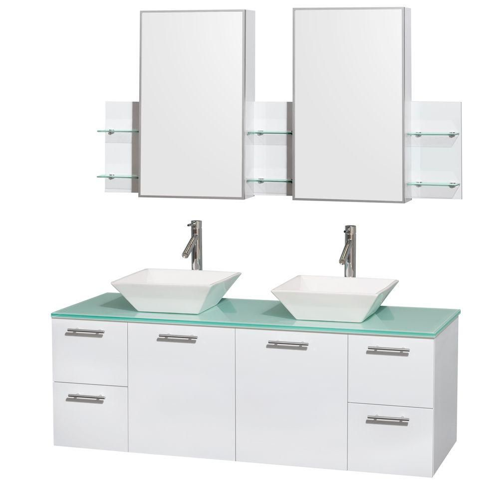 Amare 60-inch W Double Vanity in White with Glass Top with White Basins and Medicine Cabinet