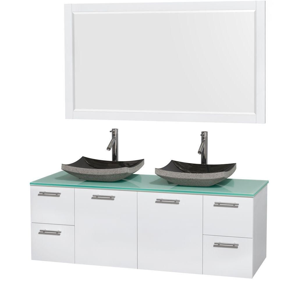 Amare 60-inch W Double Vanity in White with Glass Top with Black Basins and Mirror