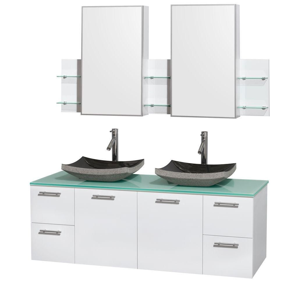 Amare 60-inch W Double Vanity in White with Glass Top with Black Basins and Medicine Cabinet