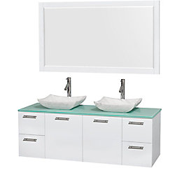 Wyndham Collection Amare 60-inch W 4-Drawer 2-Door Wall Mounted Vanity in White With Top in Green, Double Basins