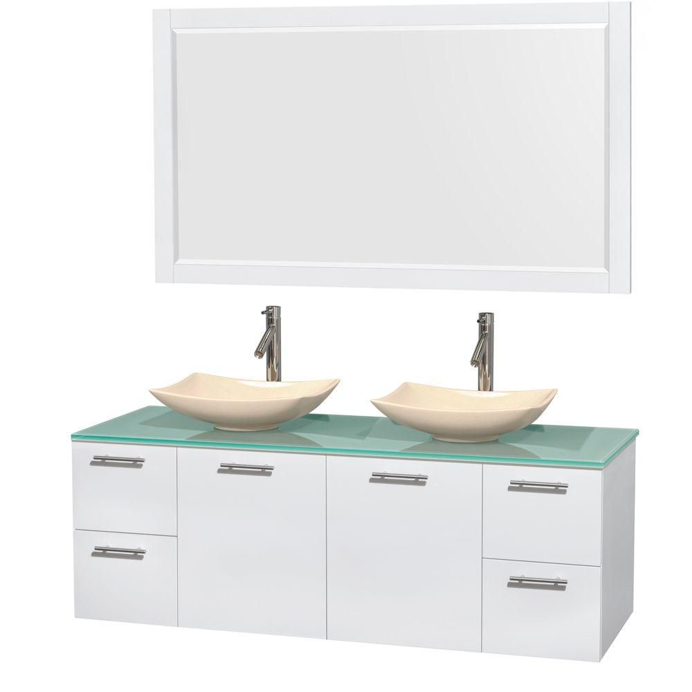 Amare 60-inch W Double Vanity in White with Glass Top with Ivory Basins and Mirror