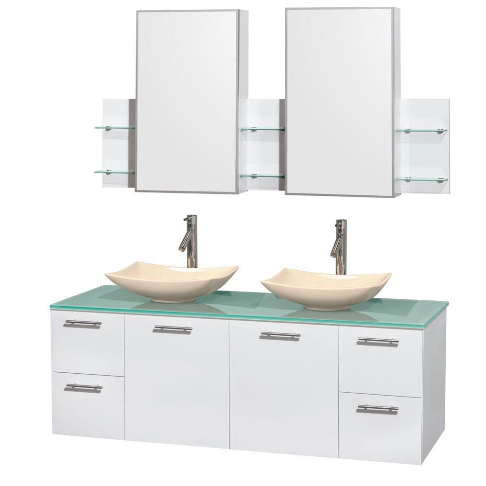 Amare 60-inch W Double Vanity in White with Glass Top with Ivory Basins and Medicine Cabinet
