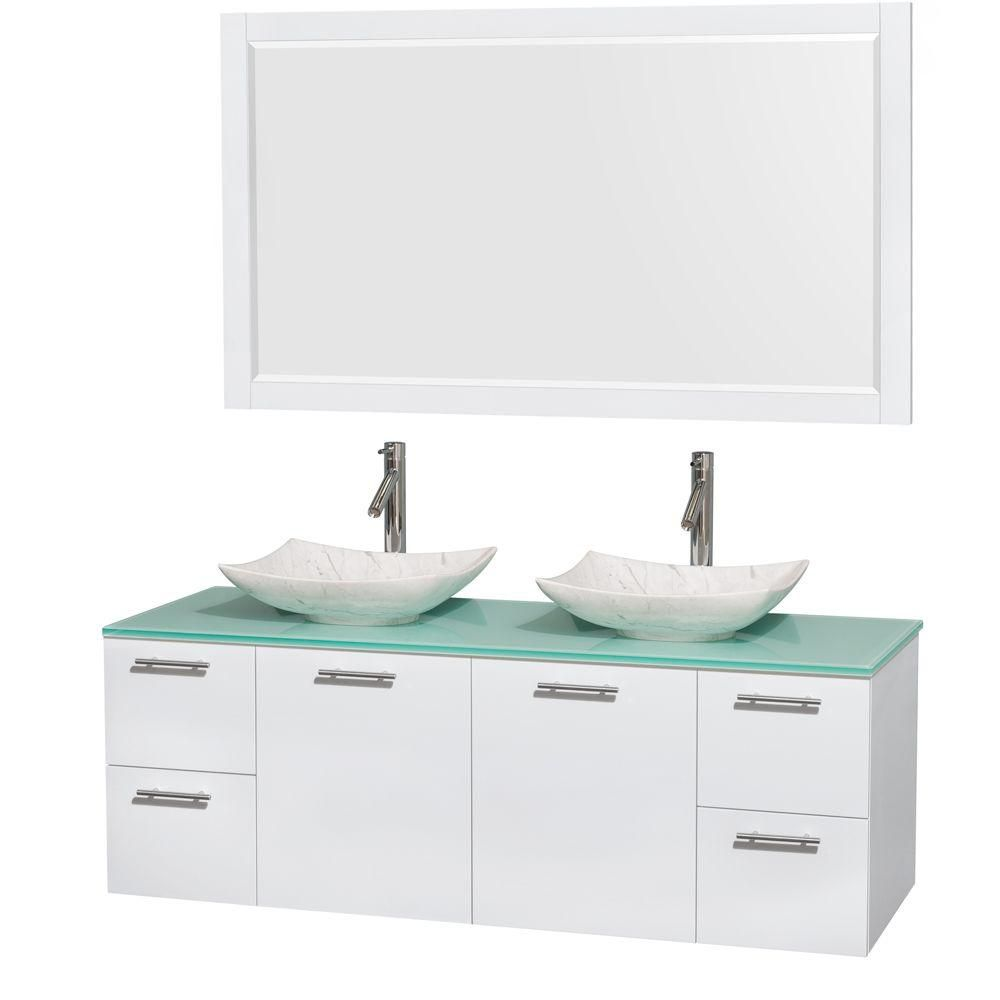 Amare 60-inch W Double Vanity in White with Glass Top with White Basins and Mirror