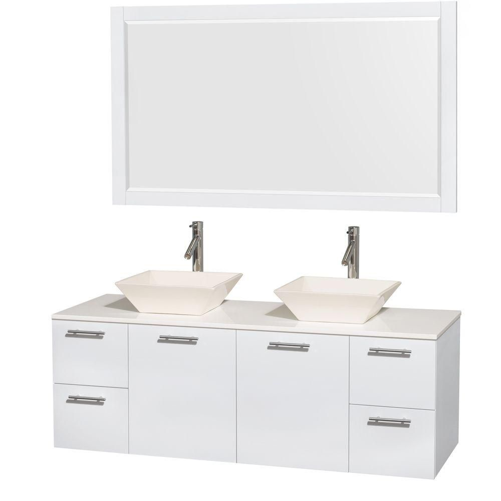 Amare 60-inch W Double Vanity in White with Solid Top with Bone Basins and Mirror