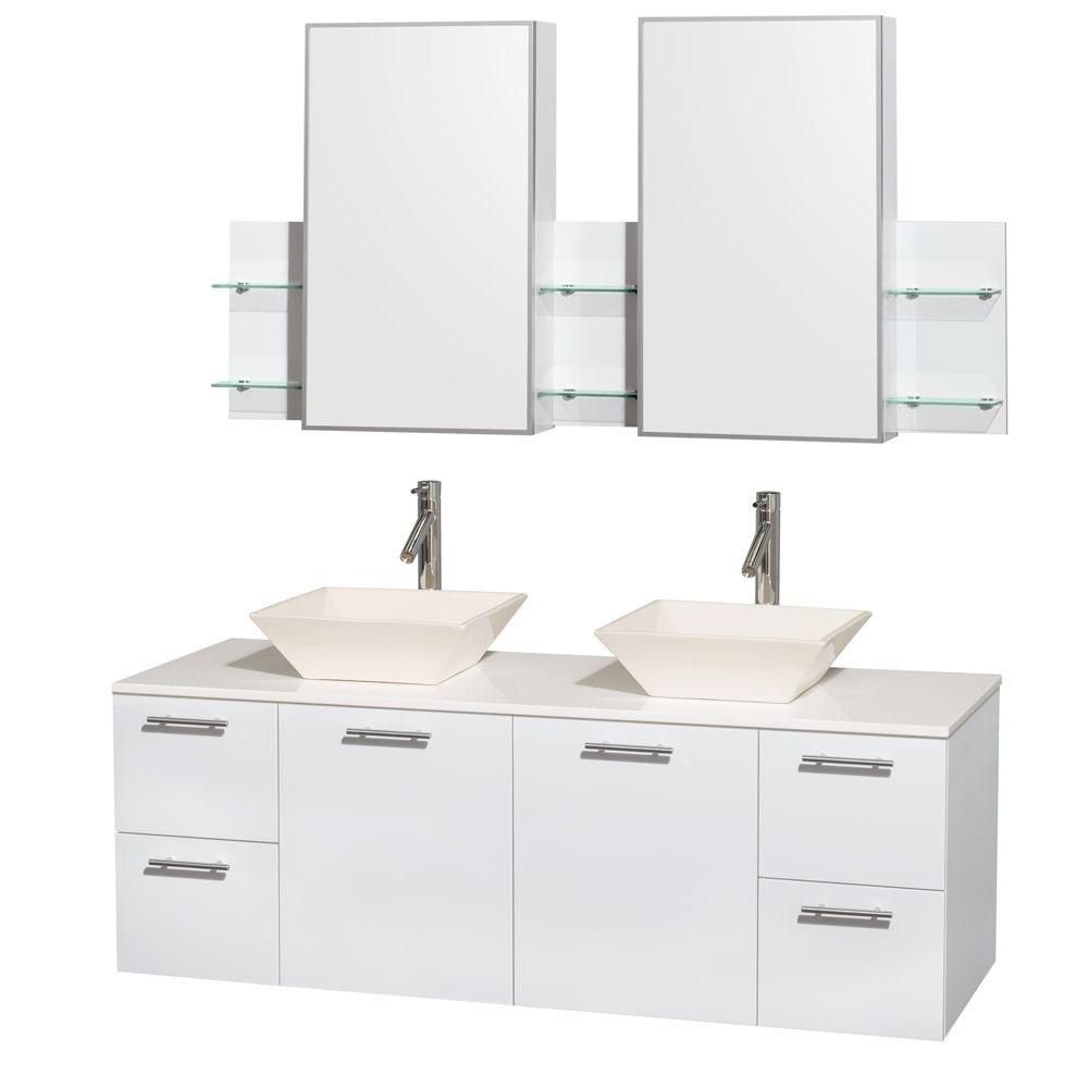 Amare 60-inch W Double Vanity in White with Solid Top with Bone Basins and Medicine Cabinet