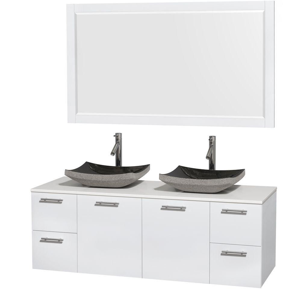 Amare 60-inch W Double Vanity in White with Solid Top with Black Basins and Mirror