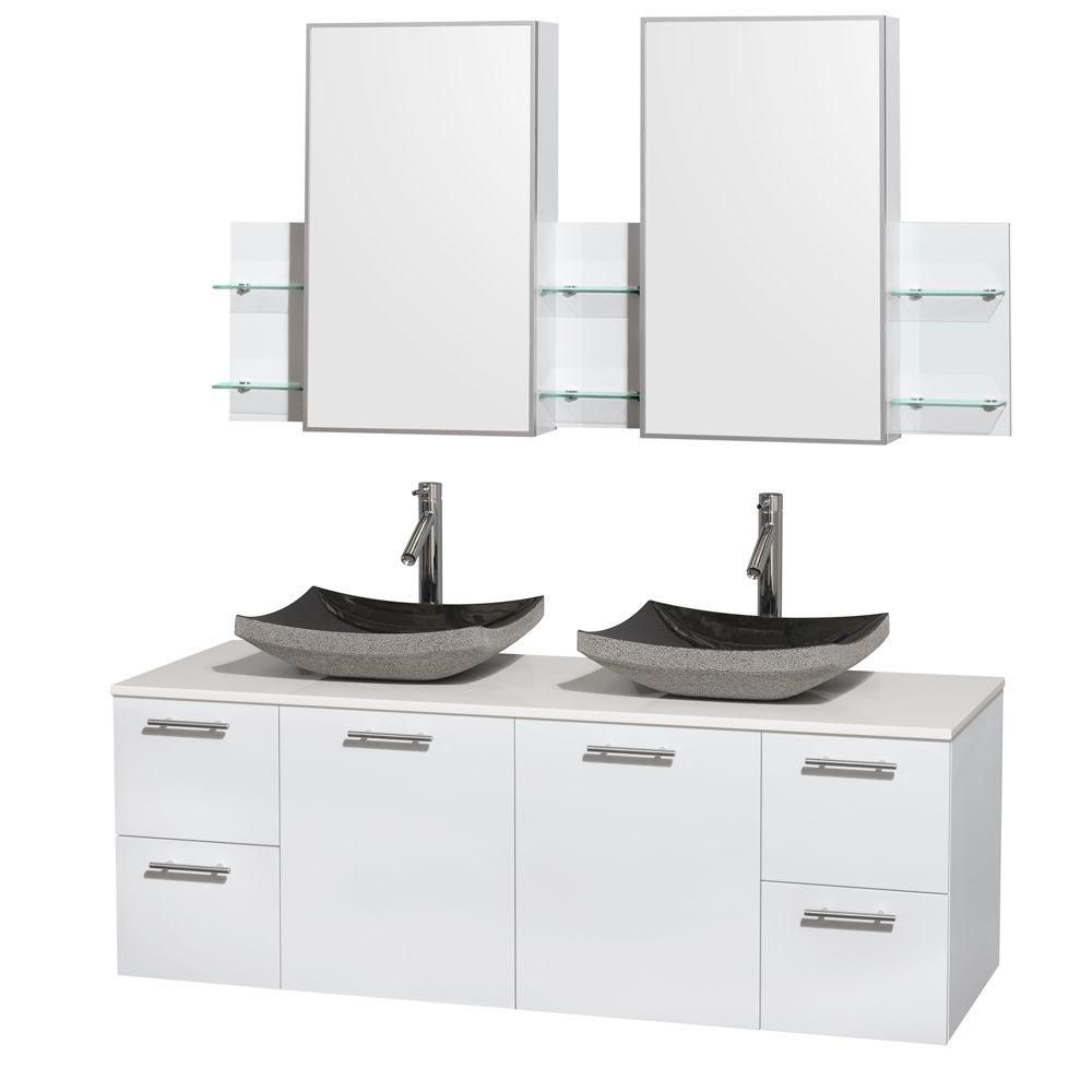 Amare 60-inch W Double Vanity in Glossy White with Solid Top, Sinks and Medicine Cabinet