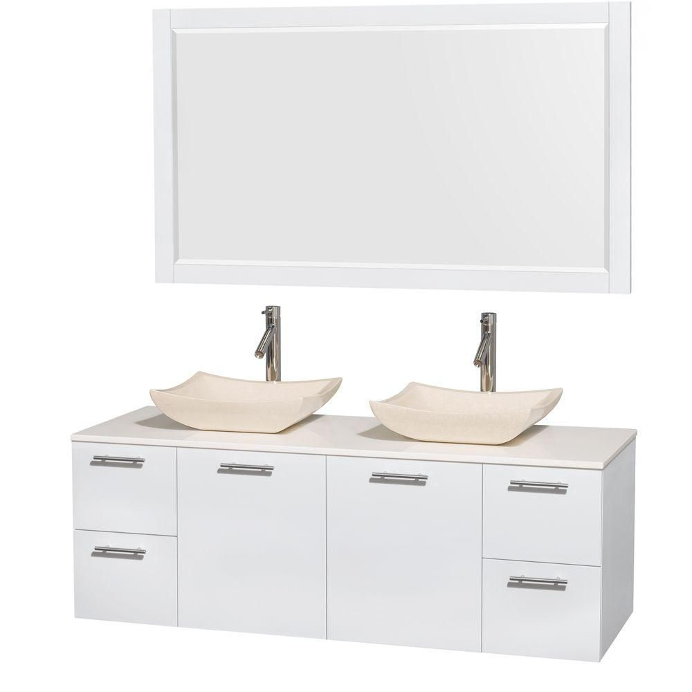 Amare 60-inch W Double Vanity in White with Solid Top with Ivory Basins and Mirror