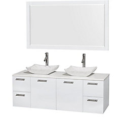 Amare 60-inch W 4-Drawer 2-Door Vanity in White With Artificial Stone Top in White, Double Basins