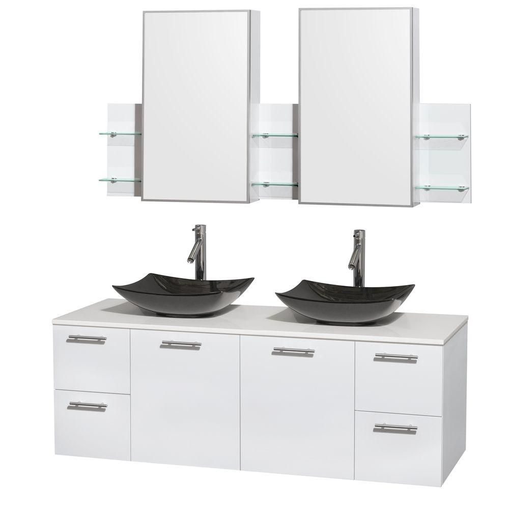 Amare 60-inch W Double Vanity in White with Solid Top with Black Basins and Medicine Cabinet